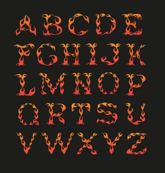 Alphabet in the shape of fire vector image