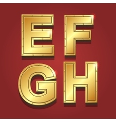 Gold letters alphabet font style E F G H vector image vector image