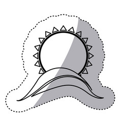 monochrome contour sticker with abstract sun over vector image vector image