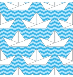 seamless background with paper boats on the waves vector image vector image