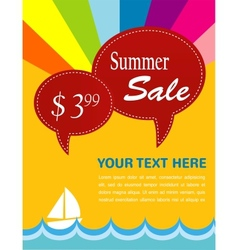 summer sale yacht and sea with pice tags vector image vector image