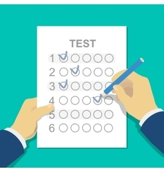 Answers to exam test answer sheet with pencil and vector image