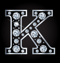 k letter made with diamonds isolated on vector image vector image