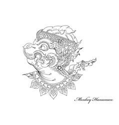 Monkey hanuman art pattern vector