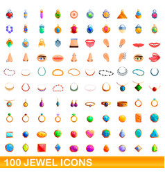 100 jewel icons set cartoon style vector image