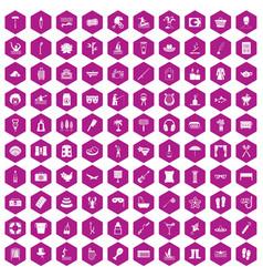 100 recreation icons hexagon violet vector