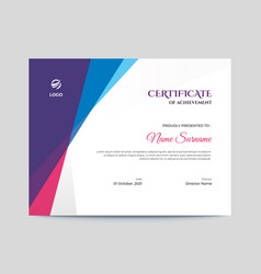 Abstract colored shapes certificate design vector