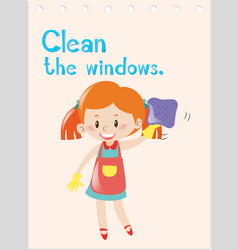 action verb flashcard with girl cleaning windows vector image