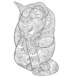 Adult coloring bookpage a cute cat image for vector