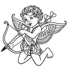 Angel cupid black and white vector