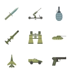 Army weapons icons set flat style vector