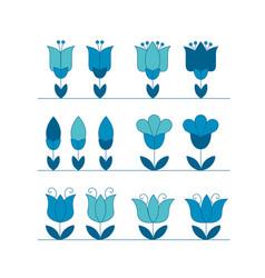 assorted abstract tulip flower motif design vector image