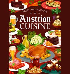 Austrian cuisine food drinks desserts and beer vector