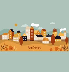 autumn city landscape fall season panorama vector image