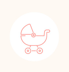 baby carriage icon on white line vector image