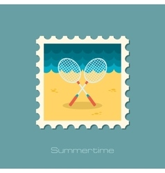 Badminton Racket flat stamp vector image