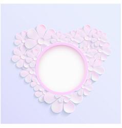 Beautiful wreath of spring flowers pink daisies vector