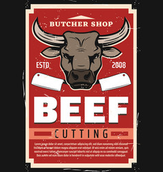 beef meat cutting butcher shop vector image
