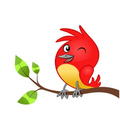 Birdie on tree branch vector