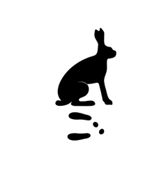 Black silhouette hare rabbit wild animal zoo vector image