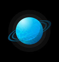 blue space planet with rings vector image