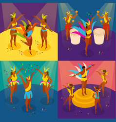 brazilian carnival concept icons set vector image