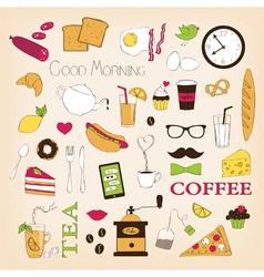 breakfast set icons vector image