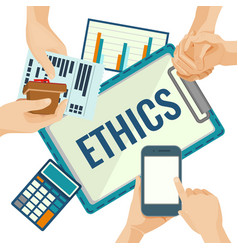 Business ethics porter with papers and devices for vector