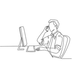 business talk concept one single line drawing of vector image