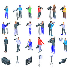 Cameraman icons set isometric style vector