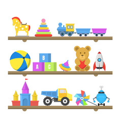 cartoon color toys on shelves set vector image