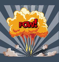 cartoon explosion effect with smoke retro boom vector image