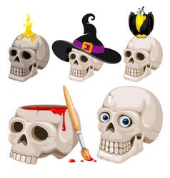 cartoon skulls set vector image