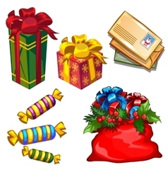 christmas a set gifts and letters to santa vector image