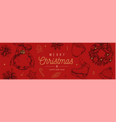 christmas and new year banner background vector image