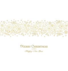 christmas card with line art icon vector image