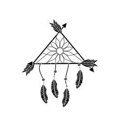 contour beauty dream catcher with feathers and vector image