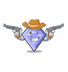 cowboy rhombus character cartoon style vector image