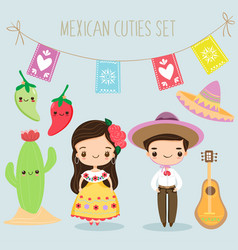 Cute mexican boy and girl with elements set vector