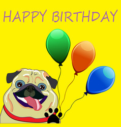 cute pug with balloons - perfect newborn vector image