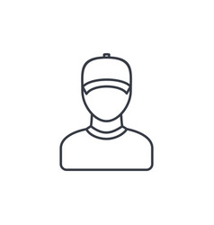 delivery man in cap courier thin line icon vector image