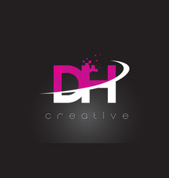 Dh d h creative letters design with white pink vector