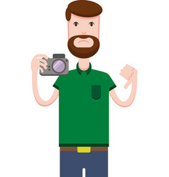 drawing of man with a camera vector image