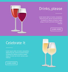 drinks please celebrate it pair of glasses of wine vector image