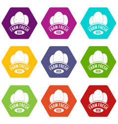 eco farm fresh icons set 9 vector image