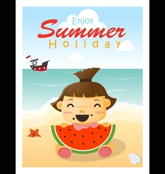 Enjoy tropical summer holiday with little girl vector