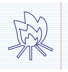 fire sign navy line icon on notebook vector image