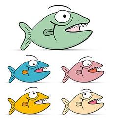 Fish Set Isolated on White Background vector image