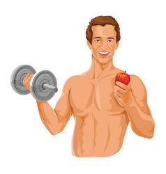 Fit man holding dumbbell and an apple vector