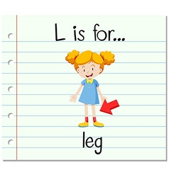 Flashcard letter L is for leg vector